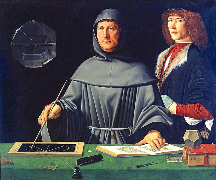 Portrait of Luca Pacioli, ?Jacopo de' Barbari? (1500 AD)